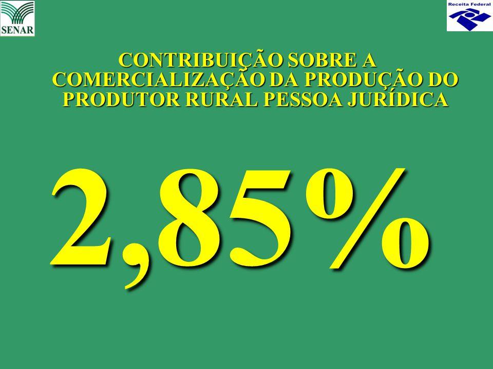 CONTRIBUIÇÃO SOBRE A COMERCIALIZAÇÃO DA PRODUÇÃO DO PRODUTOR RURAL PESSOA JURÍDICA