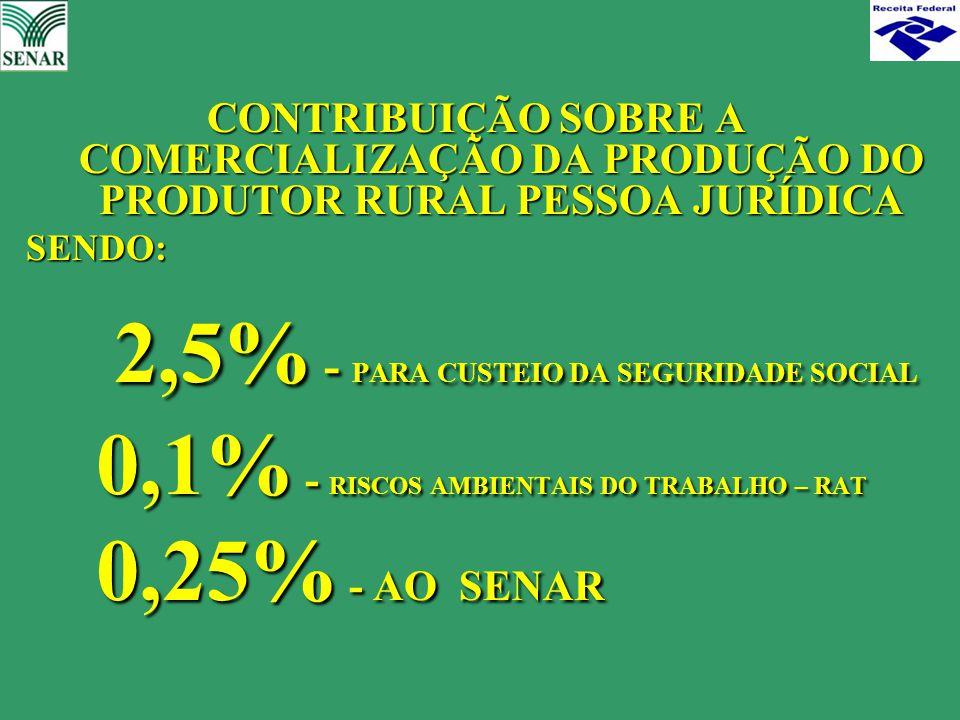 2,5% - PARA CUSTEIO DA SEGURIDADE SOCIAL