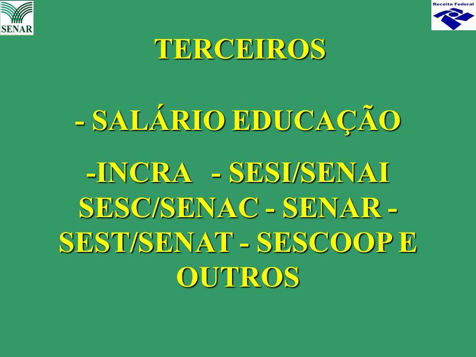 -INCRA - SESI/SENAI SESC/SENAC - SENAR -SEST/SENAT - SESCOOP E OUTROS