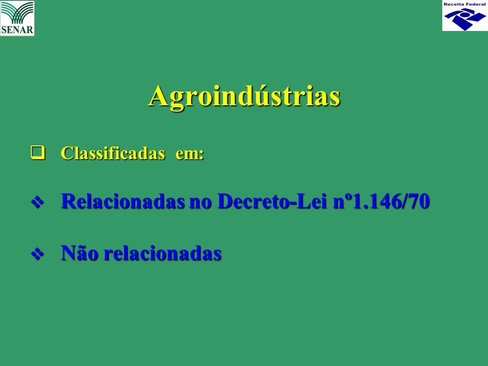 Agroindústrias Relacionadas no Decreto-Lei nº1.146/70 Não relacionadas