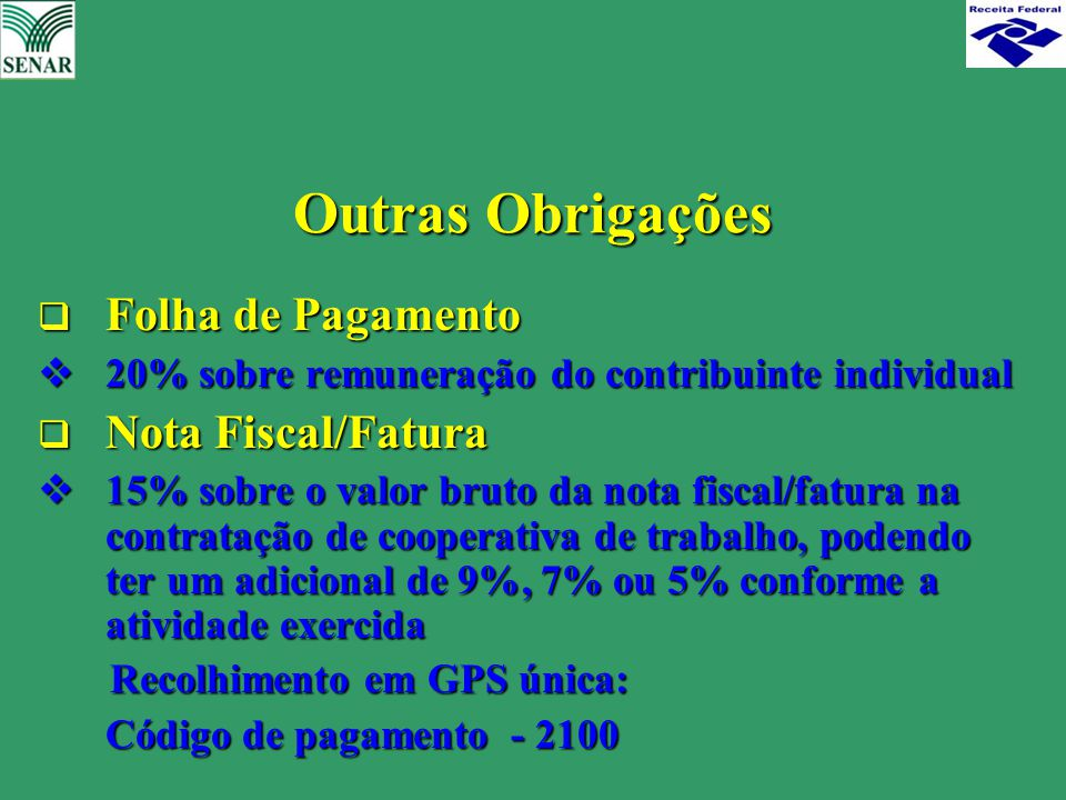 Outras Obrigações Folha de Pagamento Nota Fiscal/Fatura