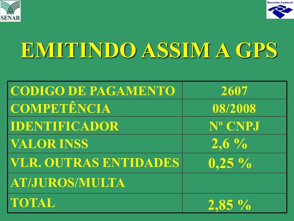 EMITINDO ASSIM A GPS 2,6 % 0,25 % 2,85 % TOTAL AT/JUROS/MULTA
