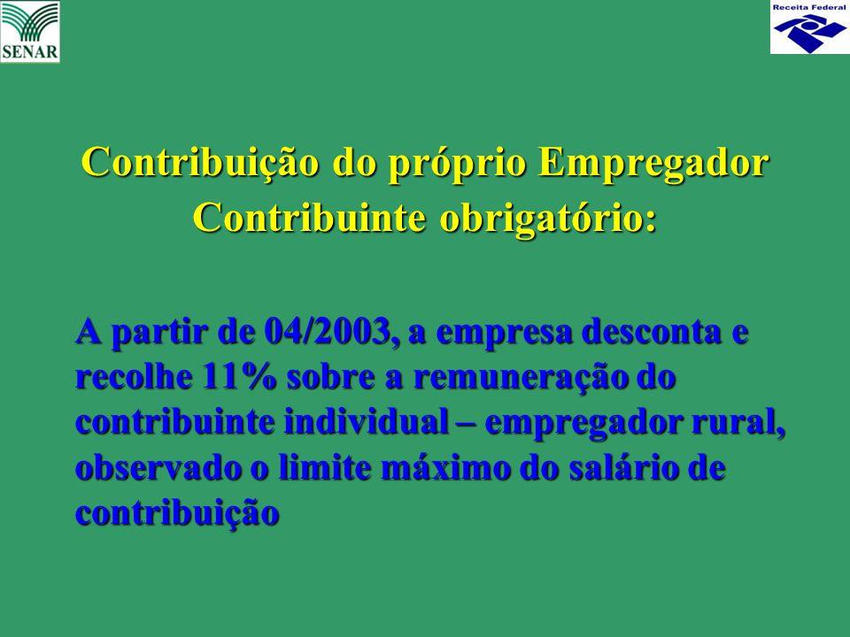 Contribuição do próprio Empregador Contribuinte obrigatório: