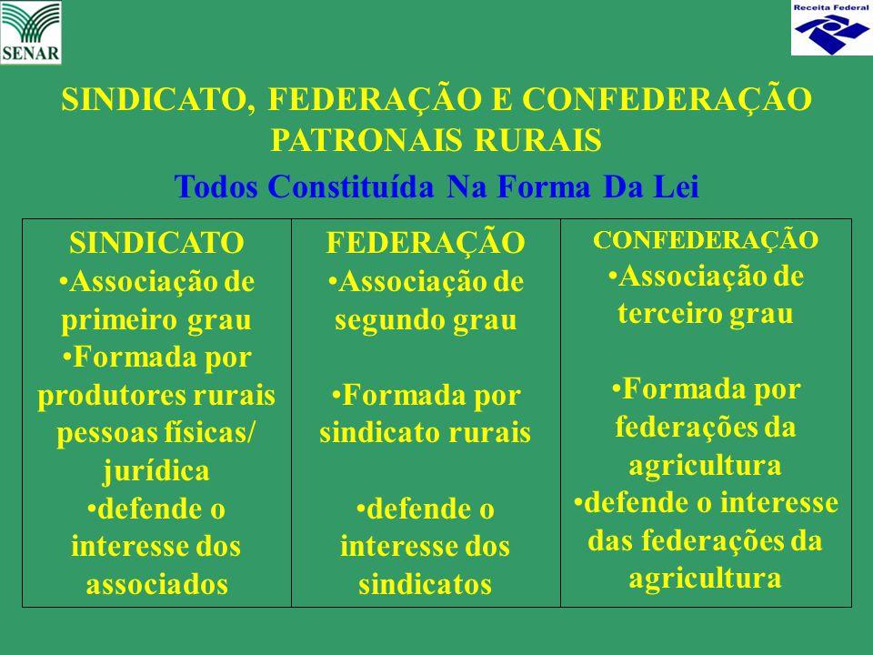 SINDICATO, FEDERAÇÃO E CONFEDERAÇÃO PATRONAIS RURAIS