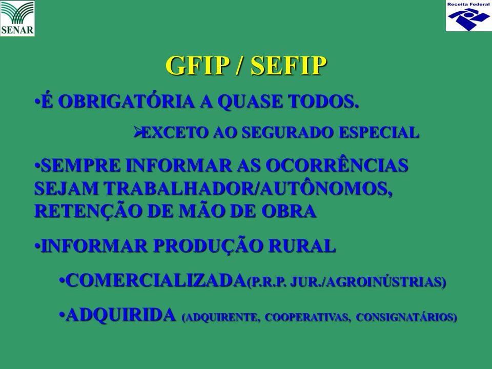 GFIP / SEFIP É OBRIGATÓRIA A QUASE TODOS.