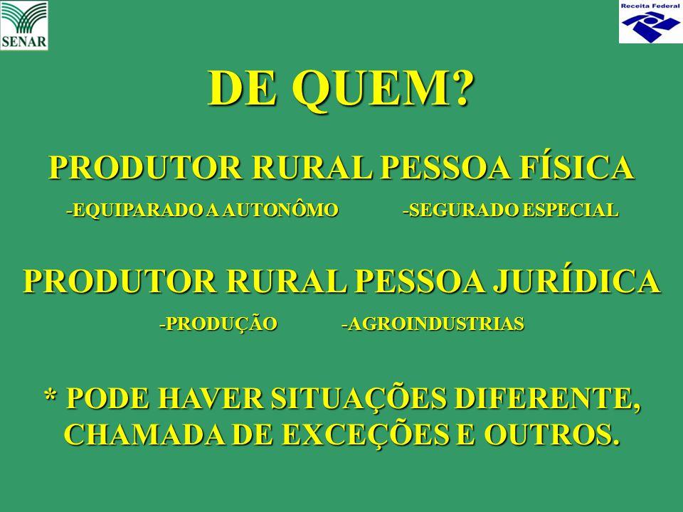 DE QUEM PRODUTOR RURAL PESSOA FÍSICA PRODUTOR RURAL PESSOA JURÍDICA