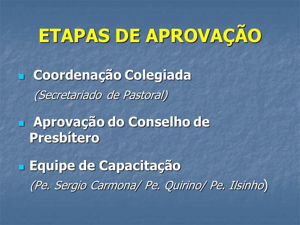ETAPAS DE APROVAÇÃO Coordenação Colegiada (Secretariado de Pastoral)