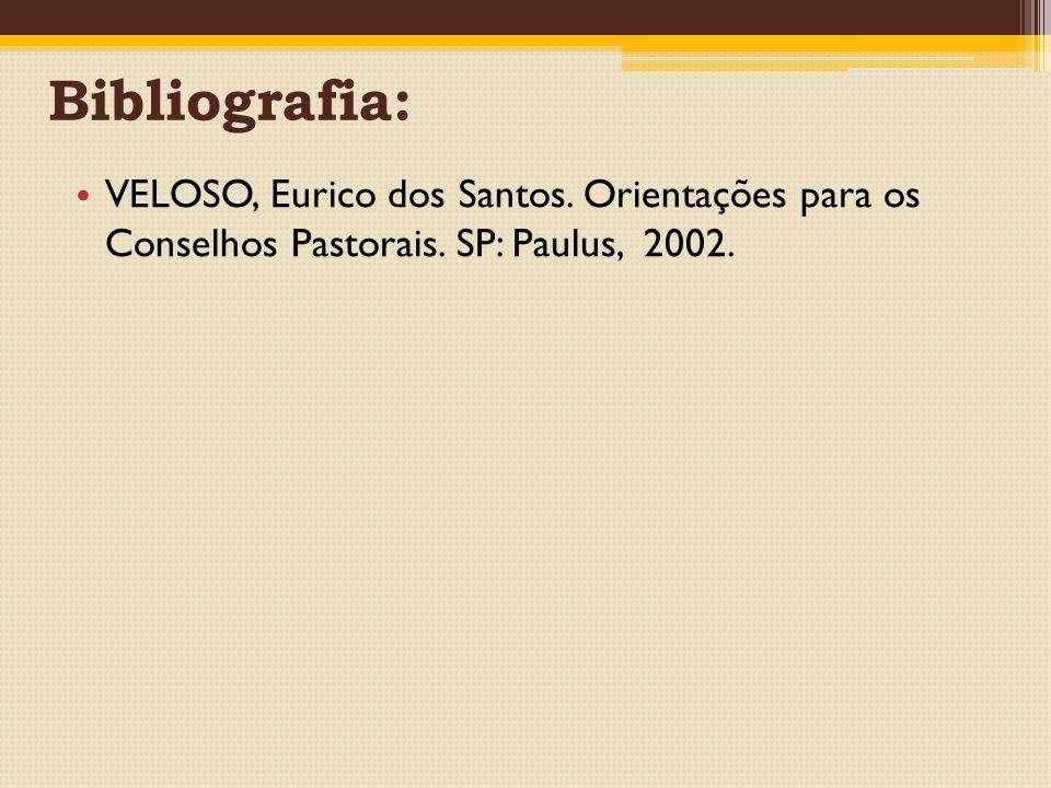 Bibliografia: VELOSO, Eurico dos Santos. Orientações para os Conselhos Pastorais.