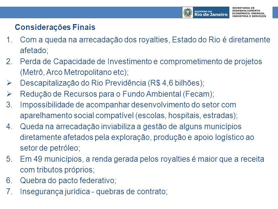 Considerações Finais Com a queda na arrecadação dos royalties, Estado do Rio é diretamente afetado;