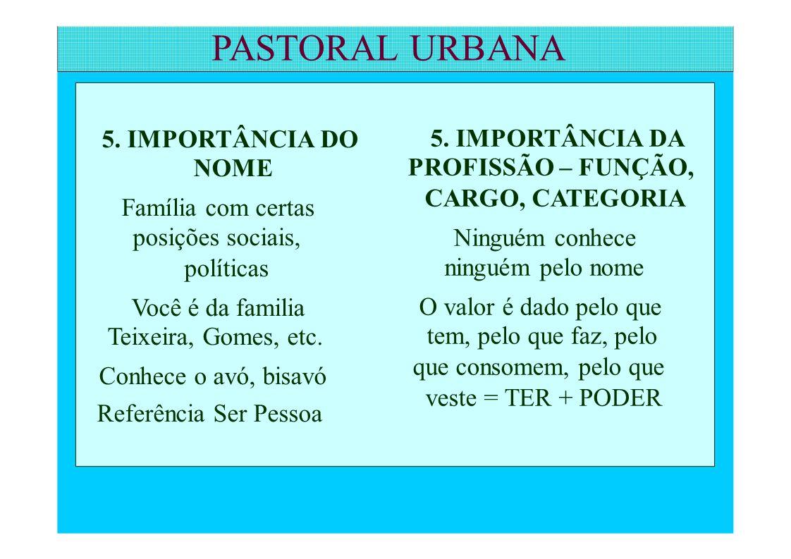 PASTORAL URBANA PROFISSÃO – FUNÇÃO, Referência Ser Pessoa