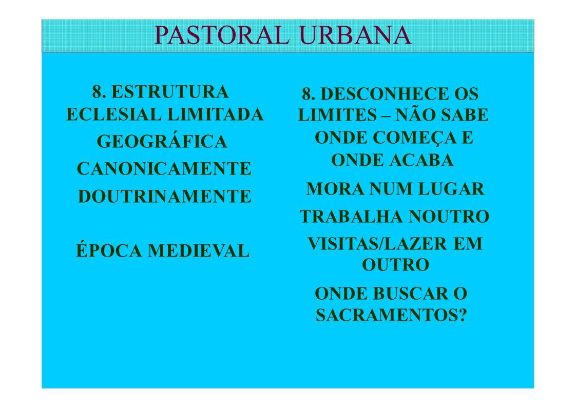 PASTORAL URBANA ECLESIAL LIMITADA LIMITES – NÃO SABE 8. ESTRUTURA