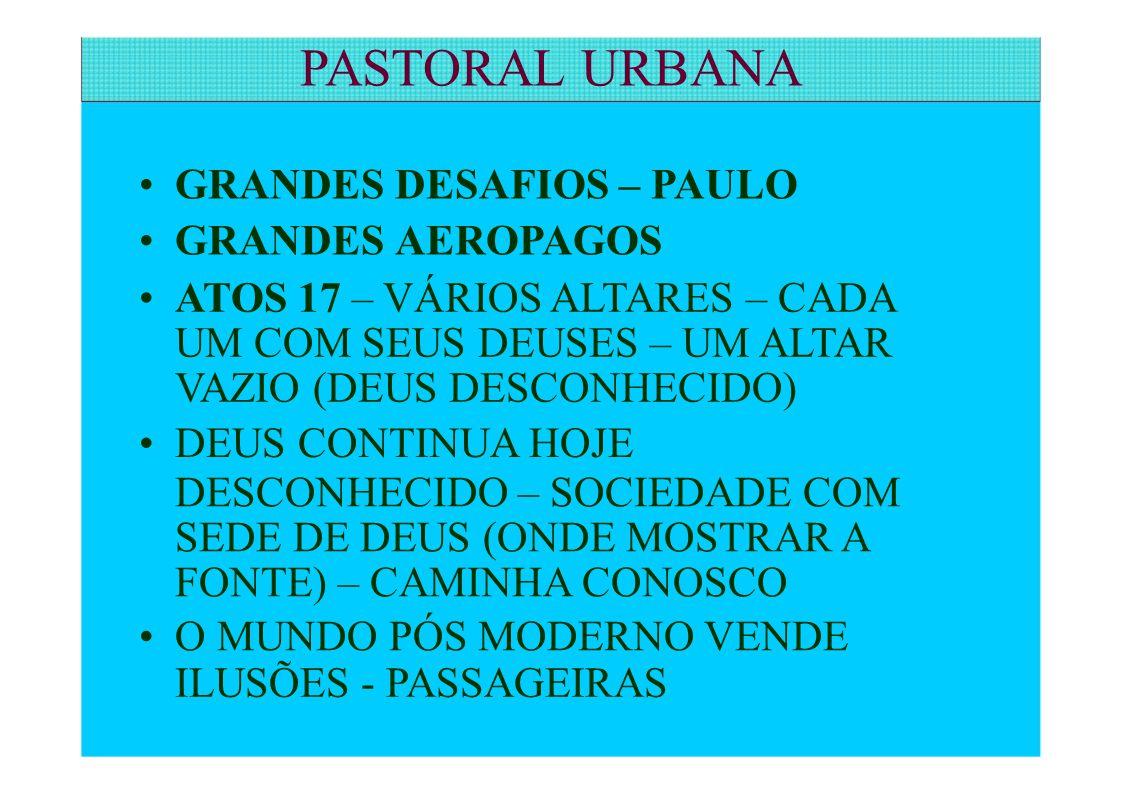 PASTORAL URBANA • GRANDES DESAFIOS – PAULO • GRANDES AEROPAGOS