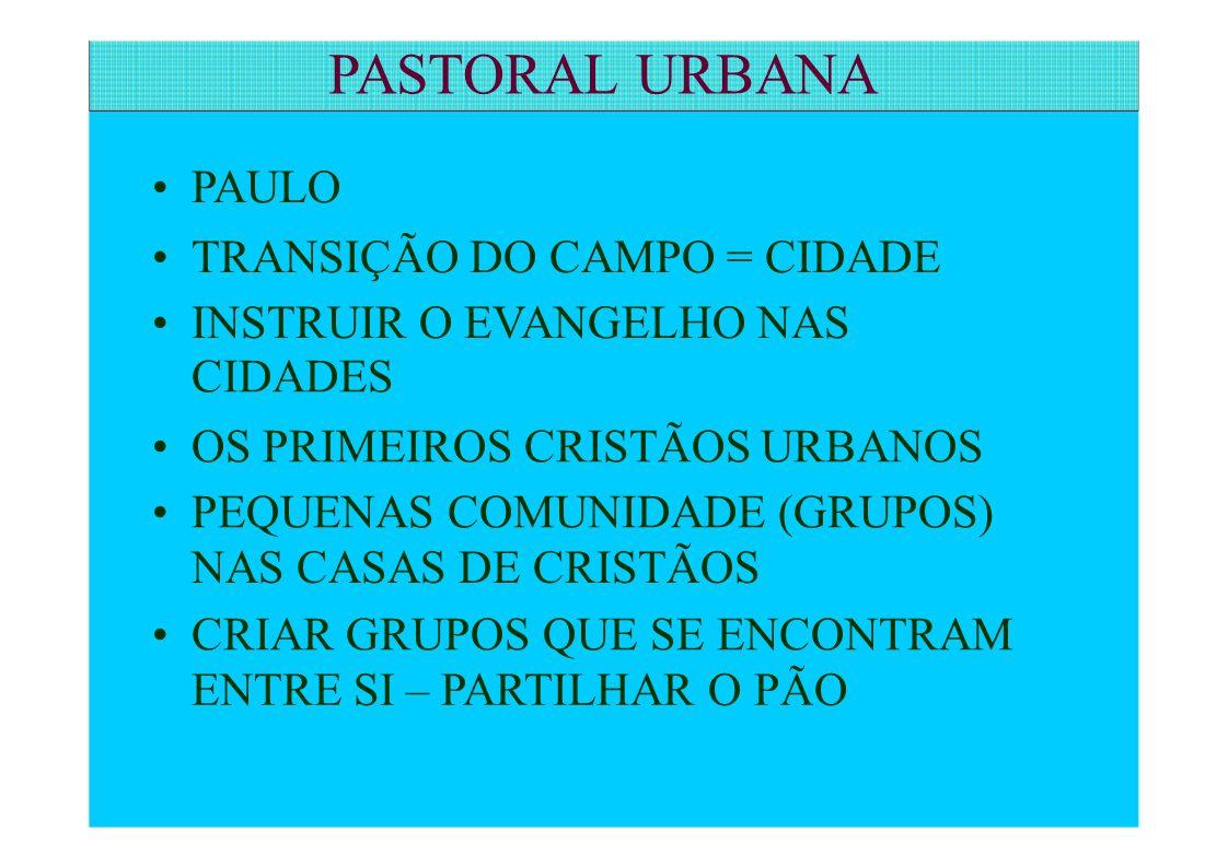 PASTORAL URBANA • PAULO • TRANSIÇÃO DO CAMPO = CIDADE