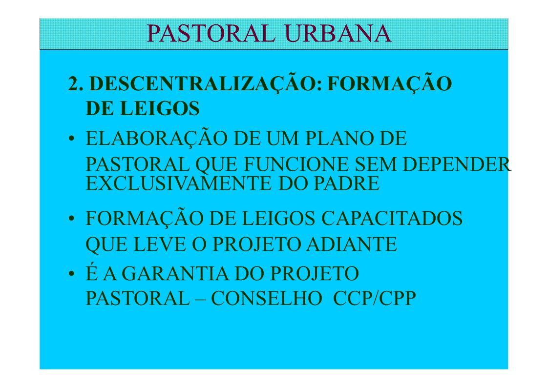 PASTORAL URBANA 2. DESCENTRALIZAÇÃO: FORMAÇÃO DE LEIGOS