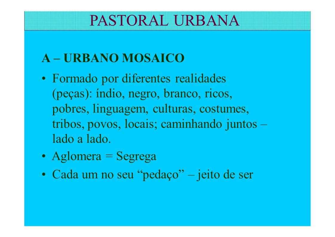 PASTORAL URBANA A – URBANO MOSAICO • Formado por diferentes realidades
