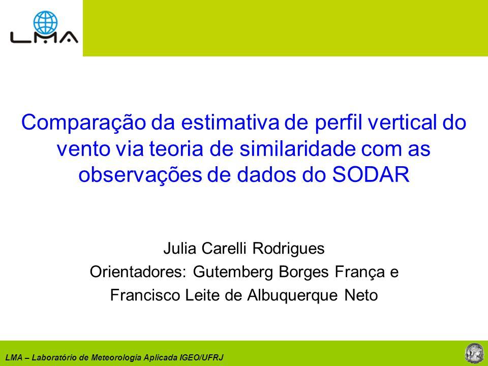 Comparação da estimativa de perfil vertical do vento via teoria de similaridade com as observações de dados do SODAR