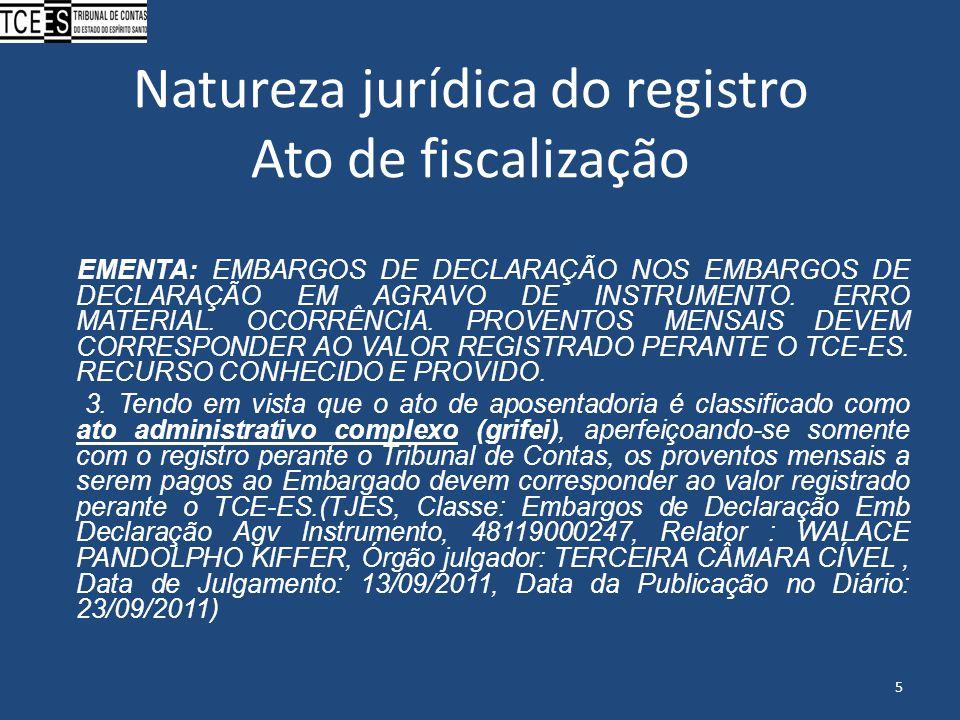 Natureza jurídica do registro Ato de fiscalização