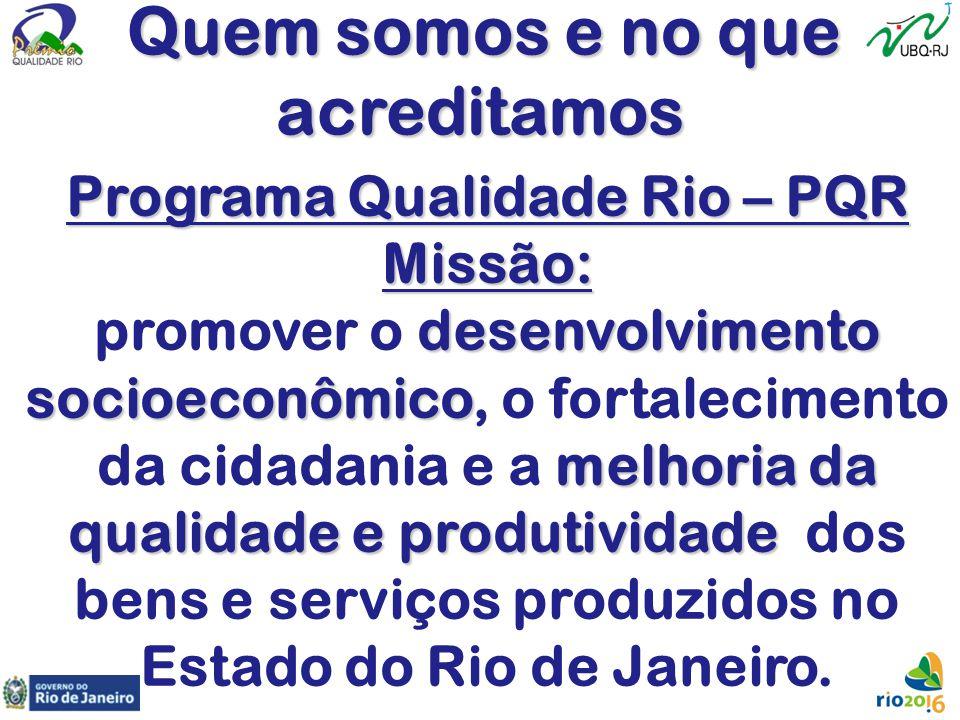 Quem somos e no que acreditamos Programa Qualidade Rio – PQR Missão: