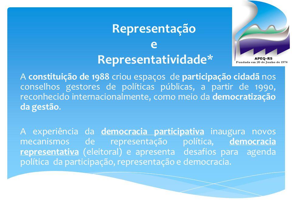 Representação e Representatividade*