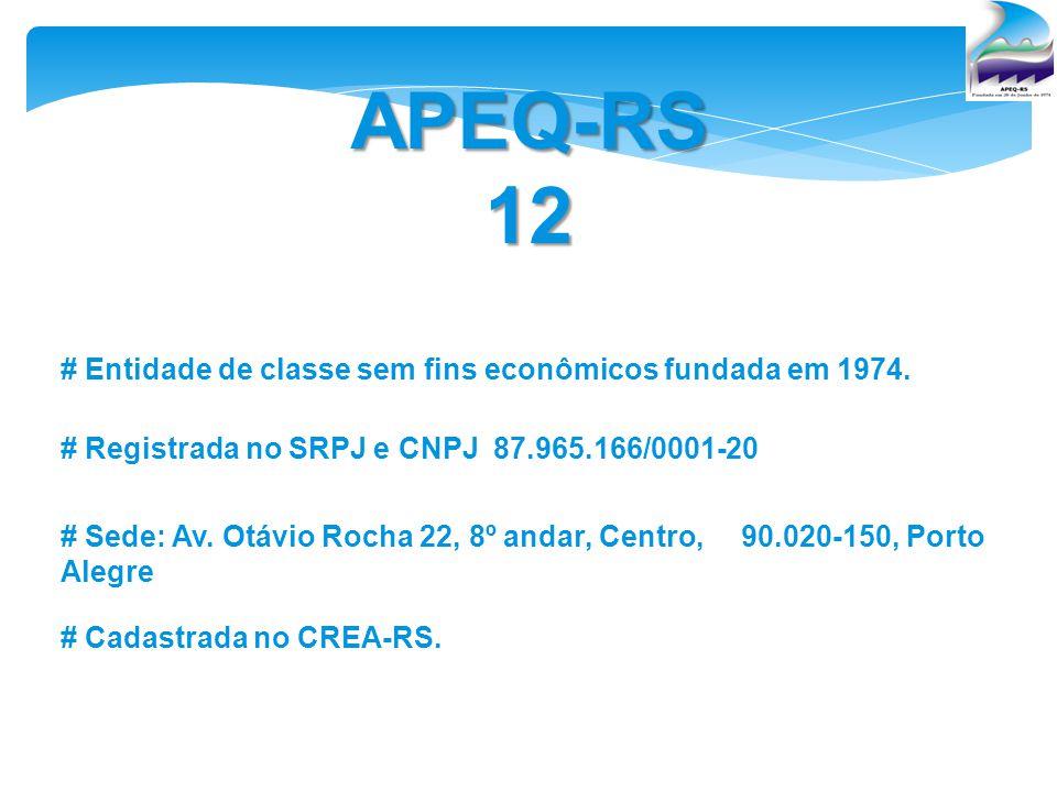 APEQ-RS 12 # Entidade de classe sem fins econômicos fundada em 1974.