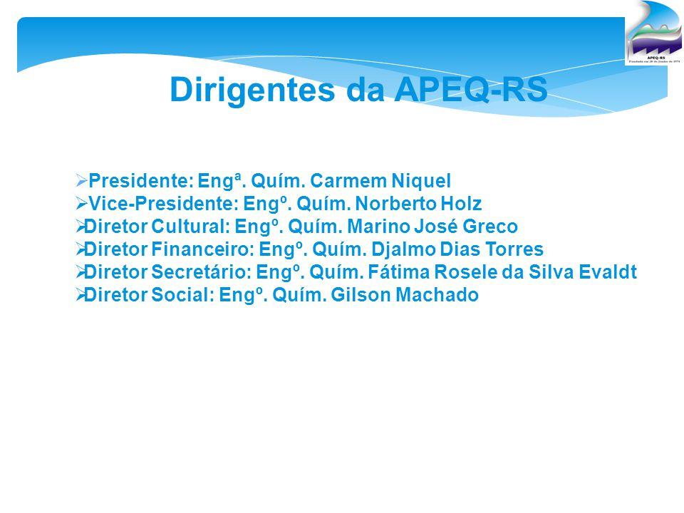 Dirigentes da APEQ-RS Presidente: Engª. Quím. Carmem Niquel