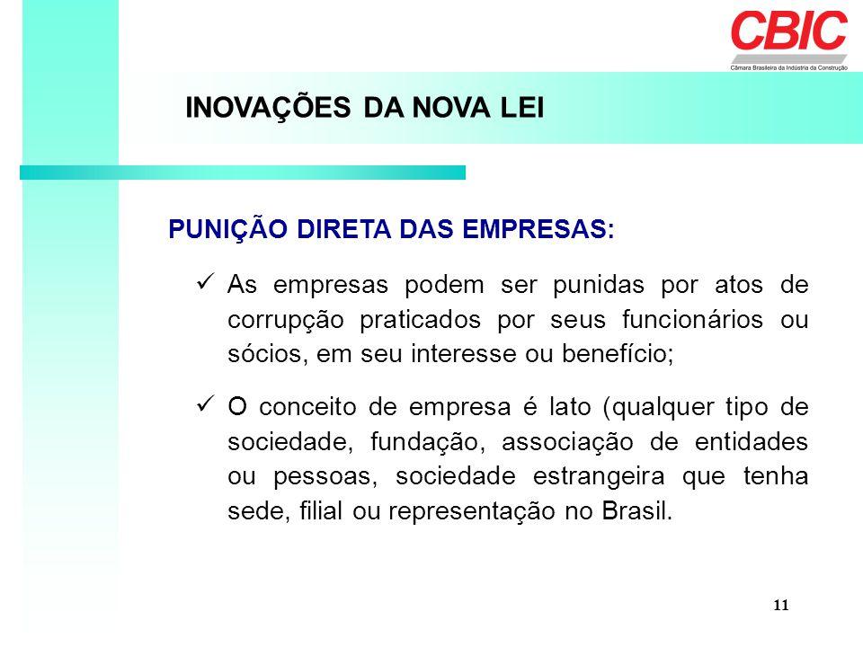 INOVAÇÕES DA NOVA LEI PUNIÇÃO DIRETA DAS EMPRESAS:
