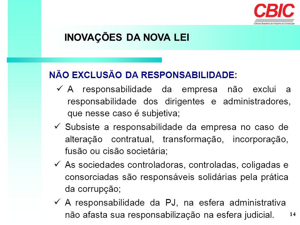 INOVAÇÕES DA NOVA LEI NÃO EXCLUSÃO DA RESPONSABILIDADE:
