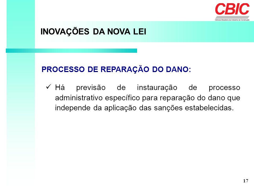 INOVAÇÕES DA NOVA LEI PROCESSO DE REPARAÇÃO DO DANO: