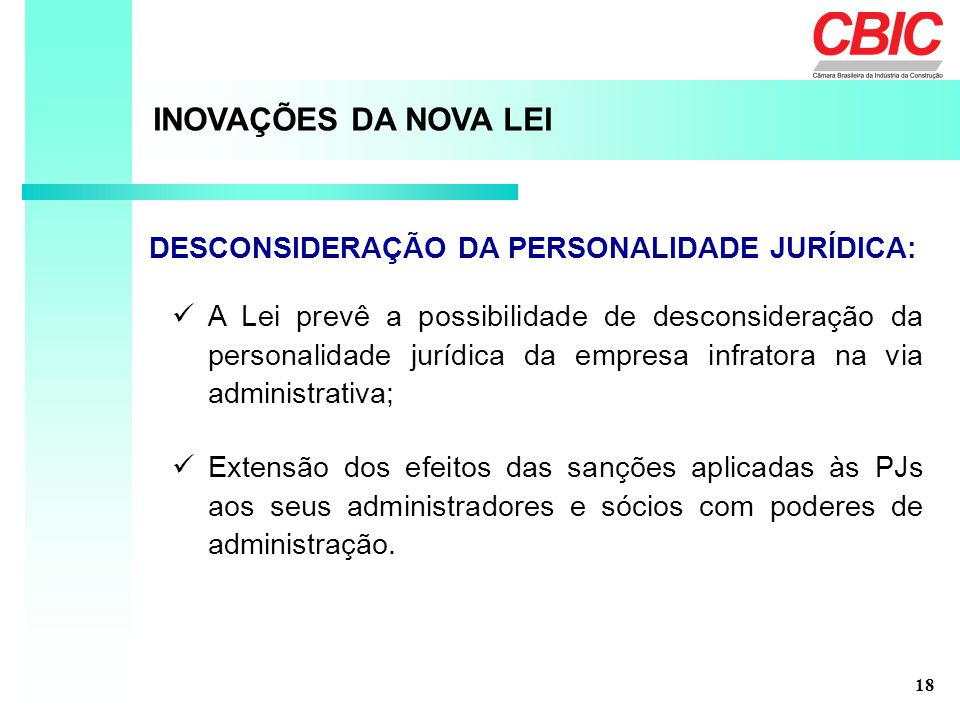 INOVAÇÕES DA NOVA LEI DESCONSIDERAÇÃO DA PERSONALIDADE JURÍDICA: