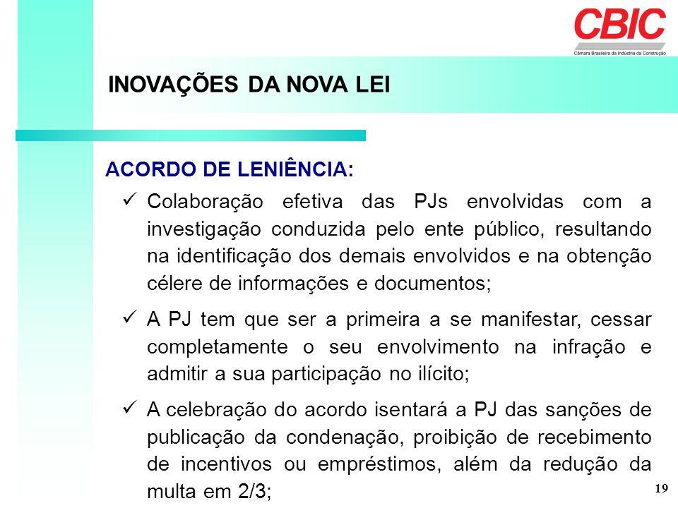 INOVAÇÕES DA NOVA LEI ACORDO DE LENIÊNCIA: