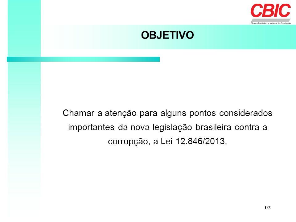 OBJETIVO Chamar a atenção para alguns pontos considerados importantes da nova legislação brasileira contra a corrupção, a Lei 12.846/2013.