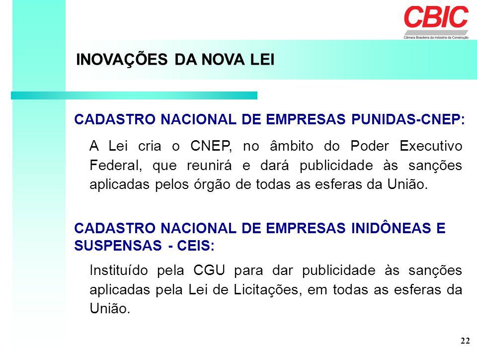 INOVAÇÕES DA NOVA LEI CADASTRO NACIONAL DE EMPRESAS PUNIDAS-CNEP: