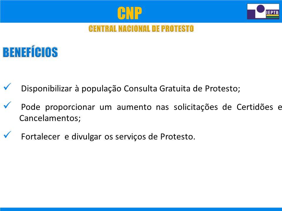 CNP  Disponibilizar à população Consulta Gratuita de Protesto;
