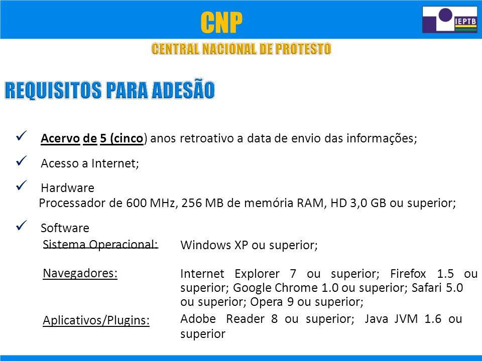 CNP  Acervo de 5 (cinco) anos retroativo a data de envio das informações;  Acesso a Internet;
