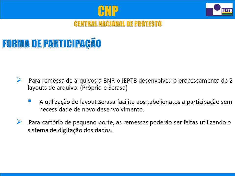CNP  Para remessa de arquivos a BNP, o IEPTB desenvolveu o processamento de 2. layouts de arquivo: (Próprio e Serasa)
