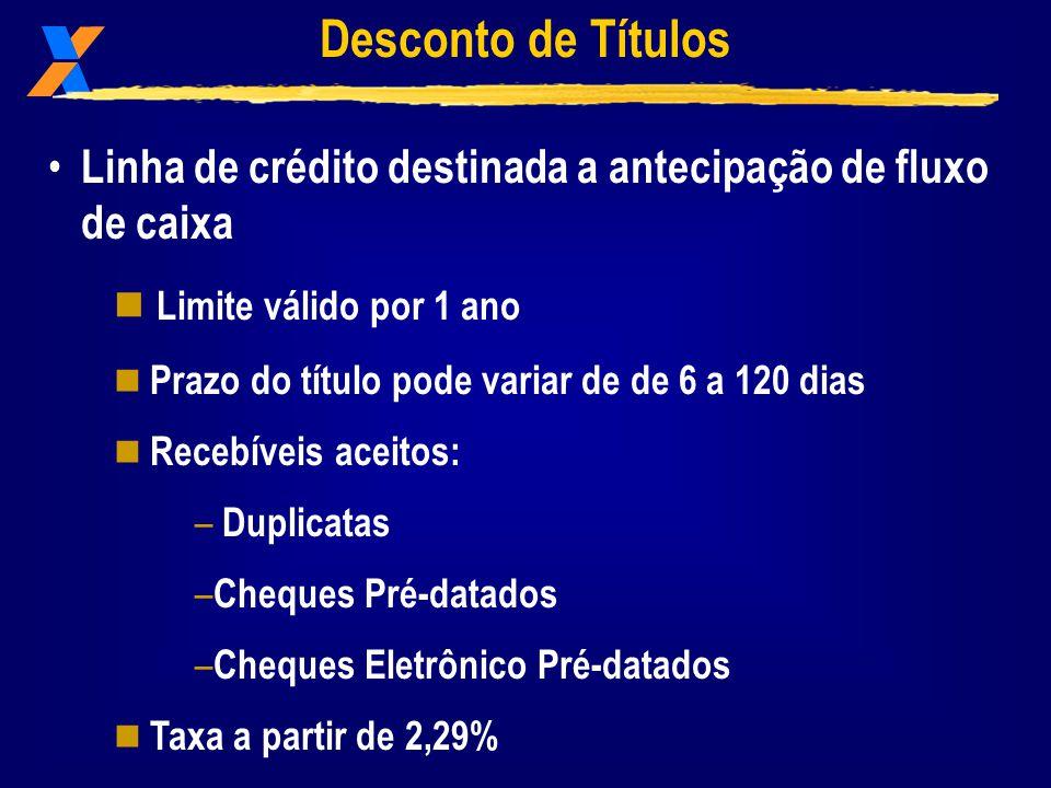 Desconto de Títulos Linha de crédito destinada a antecipação de fluxo de caixa. Limite válido por 1 ano.