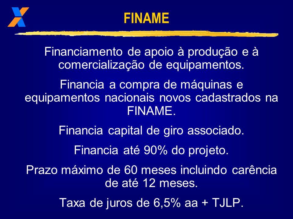 FINAME Financiamento de apoio à produção e à comercialização de equipamentos.