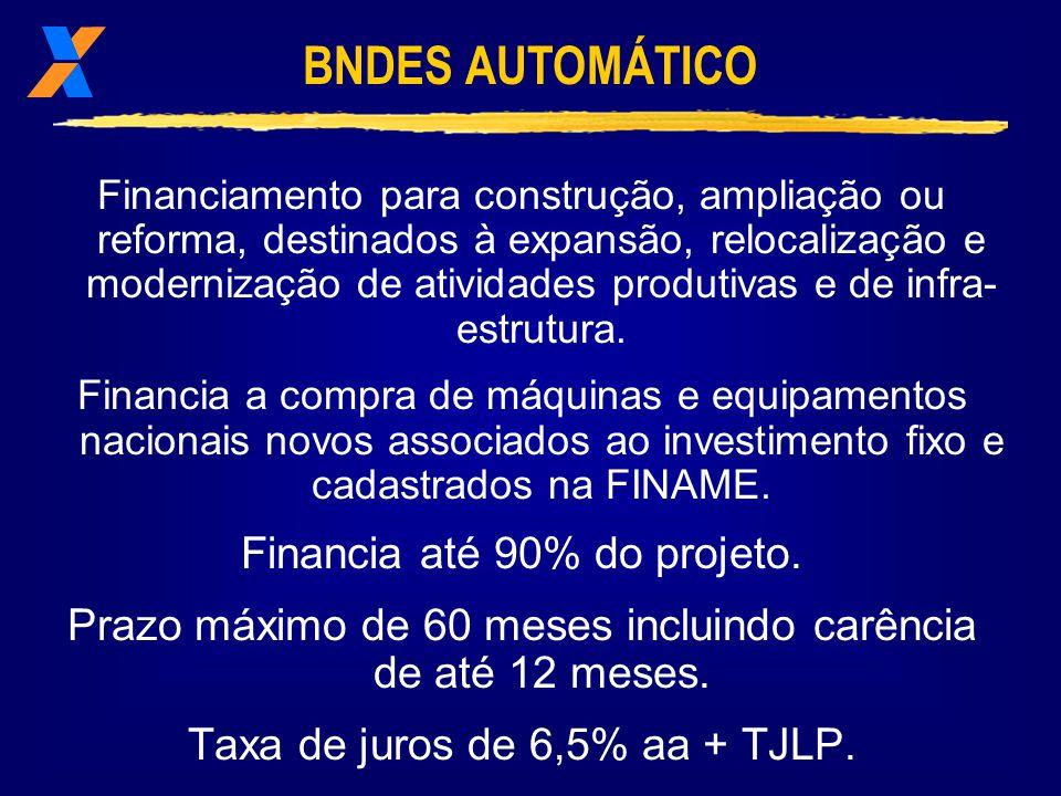 BNDES AUTOMÁTICO Financia até 90% do projeto.