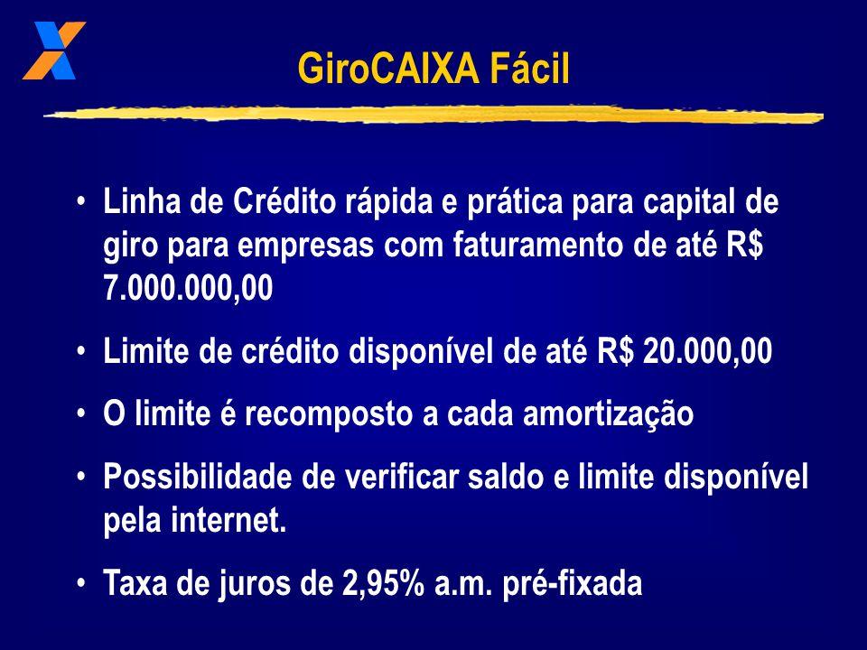 GiroCAIXA Fácil Linha de Crédito rápida e prática para capital de giro para empresas com faturamento de até R$ 7.000.000,00.