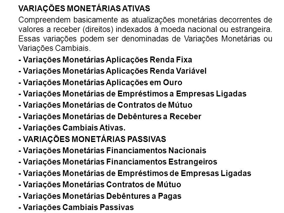 VARIAÇÕES MONETÁRIAS ATIVAS Compreendem basicamente as atualizações monetárias decorrentes de valores a receber (direitos) indexados à moeda nacional ou estrangeira.