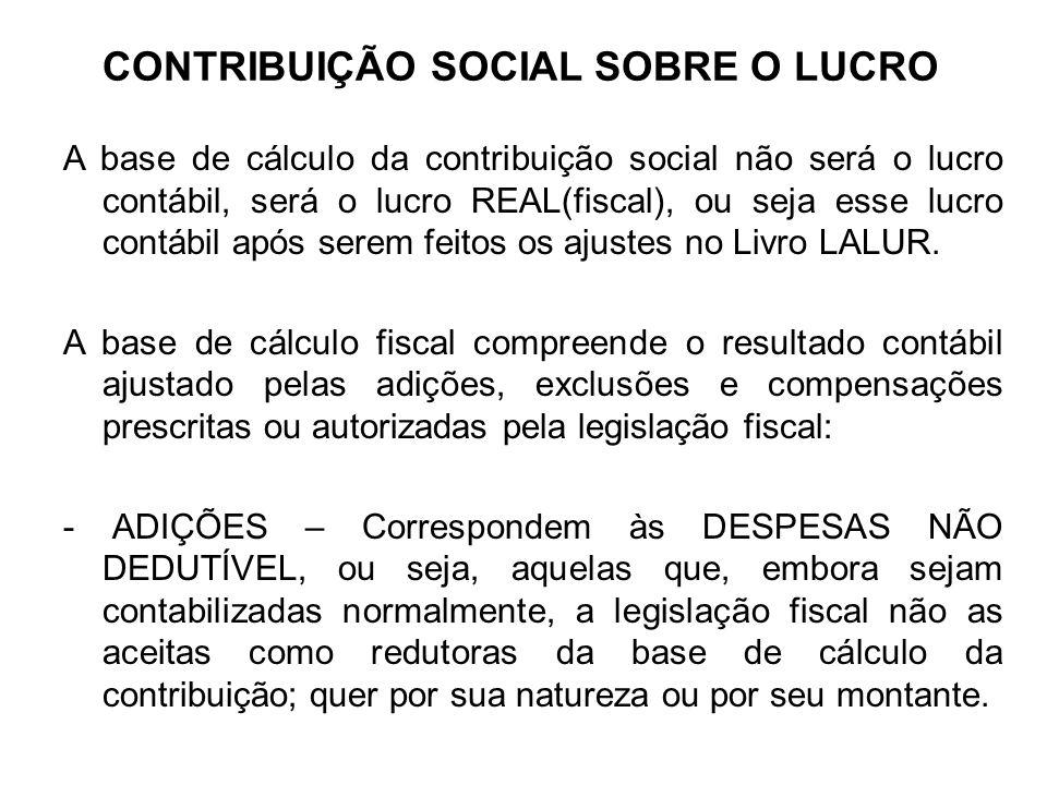 CONTRIBUIÇÃO SOCIAL SOBRE O LUCRO