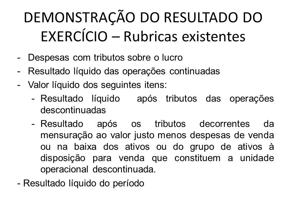 DEMONSTRAÇÃO DO RESULTADO DO EXERCÍCIO – Rubricas existentes