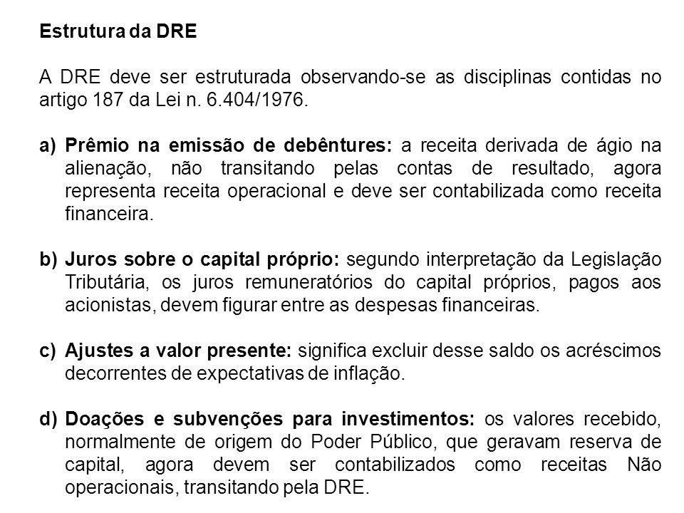 Estrutura da DRE A DRE deve ser estruturada observando-se as disciplinas contidas no artigo 187 da Lei n. 6.404/1976.