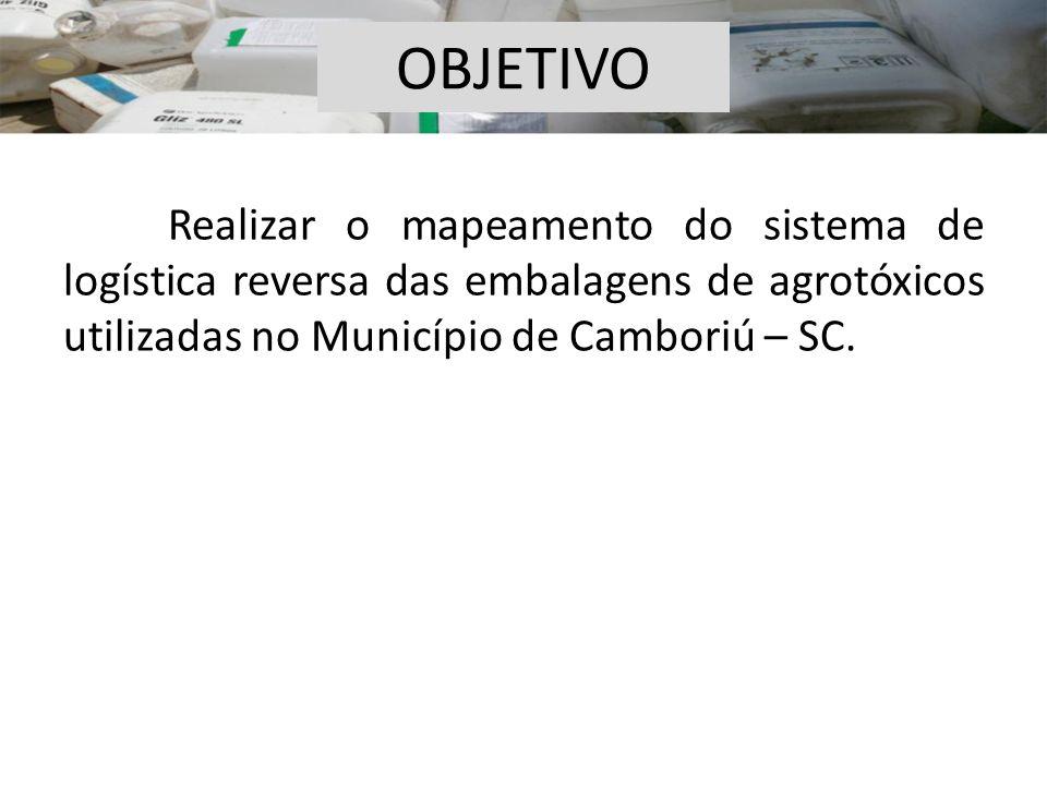 OBJETIVO Realizar o mapeamento do sistema de logística reversa das embalagens de agrotóxicos utilizadas no Município de Camboriú – SC.