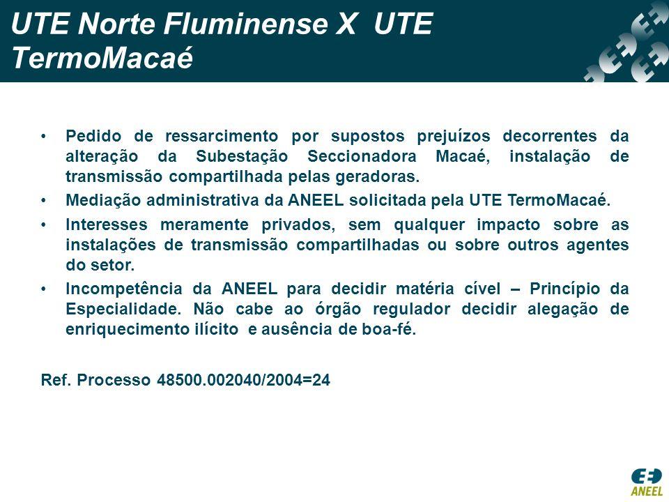 UTE Norte Fluminense X UTE TermoMacaé
