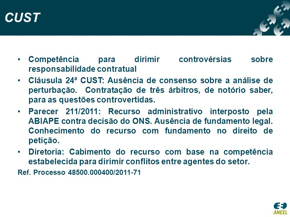 CUST Competência para dirimir controvérsias sobre responsabilidade contratual.