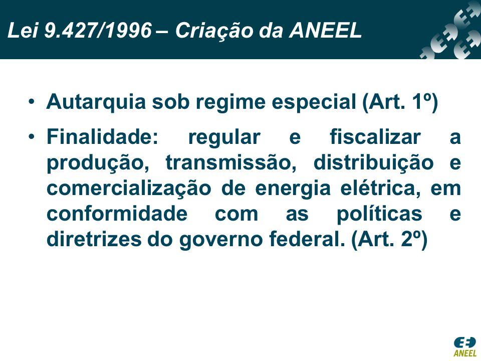 Lei 9.427/1996 – Criação da ANEEL Autarquia sob regime especial (Art. 1º)