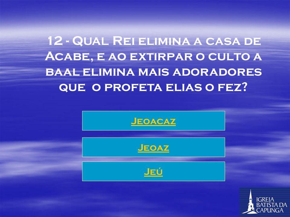12 - QUAL Rei elimina a casa de Acabe, e ao extirpar o culto a baal elimina mais adoradores que o profeta elias o fez