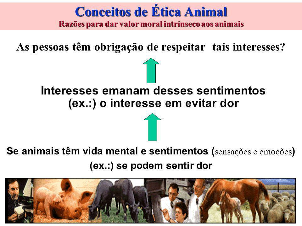 Conceitos de Ética Animal Razões para dar valor moral intrínseco aos animais