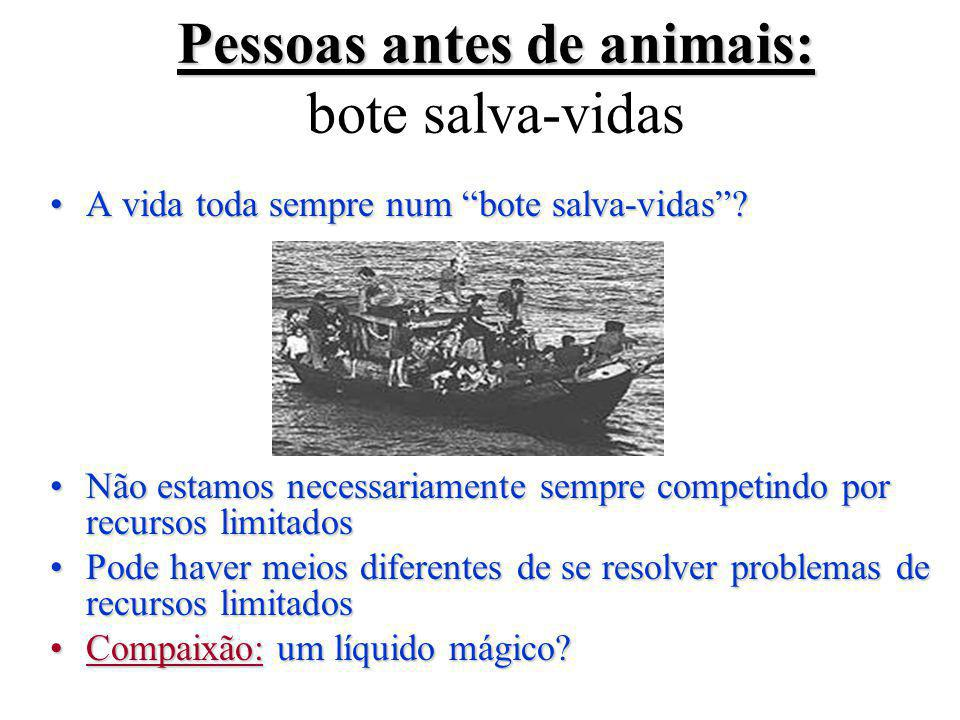Pessoas antes de animais: bote salva-vidas